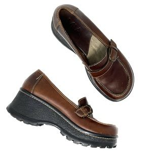 Y2K Mia Loafer Brown Leather Thick Sole Size 8 90s